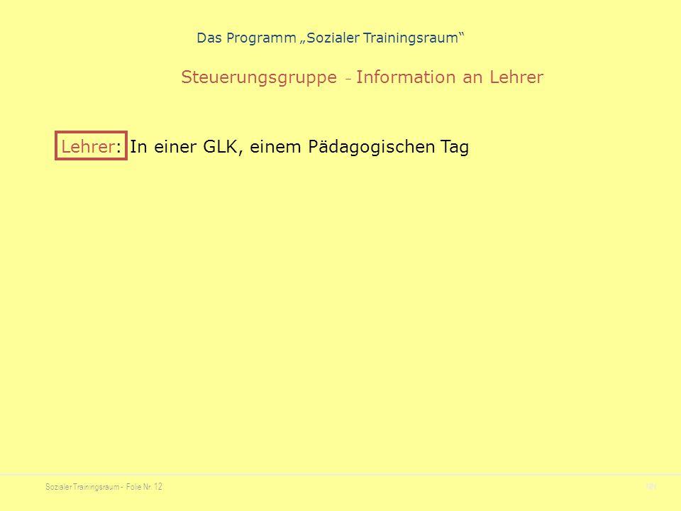 """Sozialer Trainingsraum - Folie Nr. 12NN Das Programm """"Sozialer Trainingsraum"""" Steuerungsgruppe – Information an Lehrer Lehrer: In einer GLK, einem Päd"""