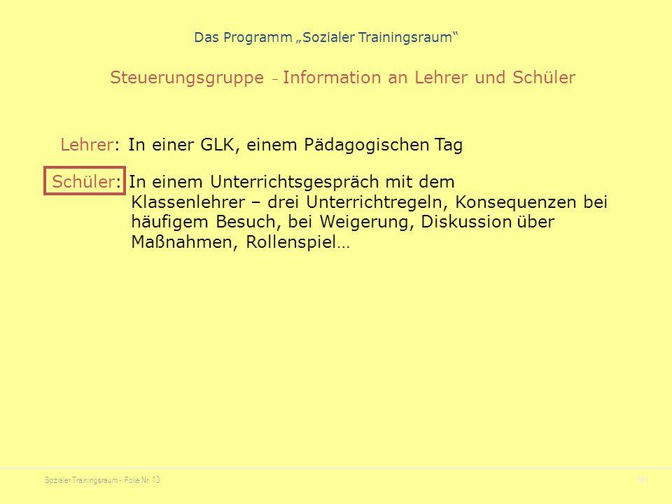 """Sozialer Trainingsraum - Folie Nr. 13NN Das Programm """"Sozialer Trainingsraum"""" Steuerungsgruppe – Information an Lehrer und Schüler Lehrer: In einer GL"""