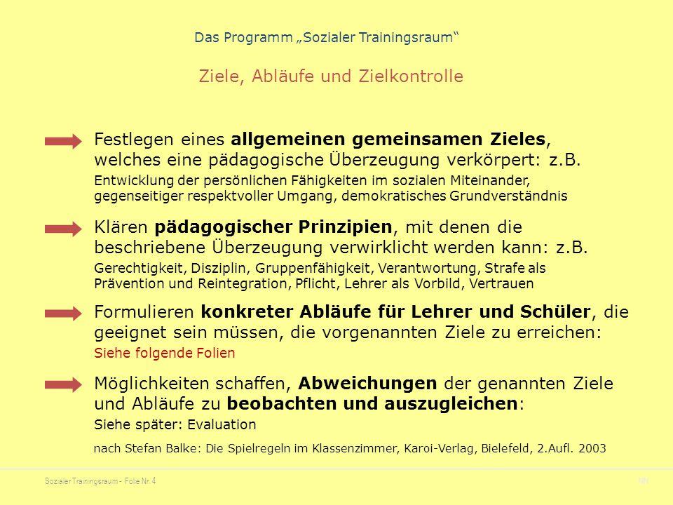 """Sozialer Trainingsraum - Folie Nr. 4NN Das Programm """"Sozialer Trainingsraum"""" Festlegen eines allgemeinen gemeinsamen Zieles, welches eine pädagogische"""