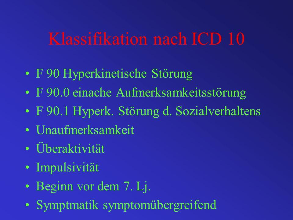 Klassifikation nach DSM IV Aufmerksamkeitsdefizit- /Hyperaktivitätsstörung mit Merkmal der Unaufmerksamkeit und Hyperaktivität Code 314.01 = Mischtyp