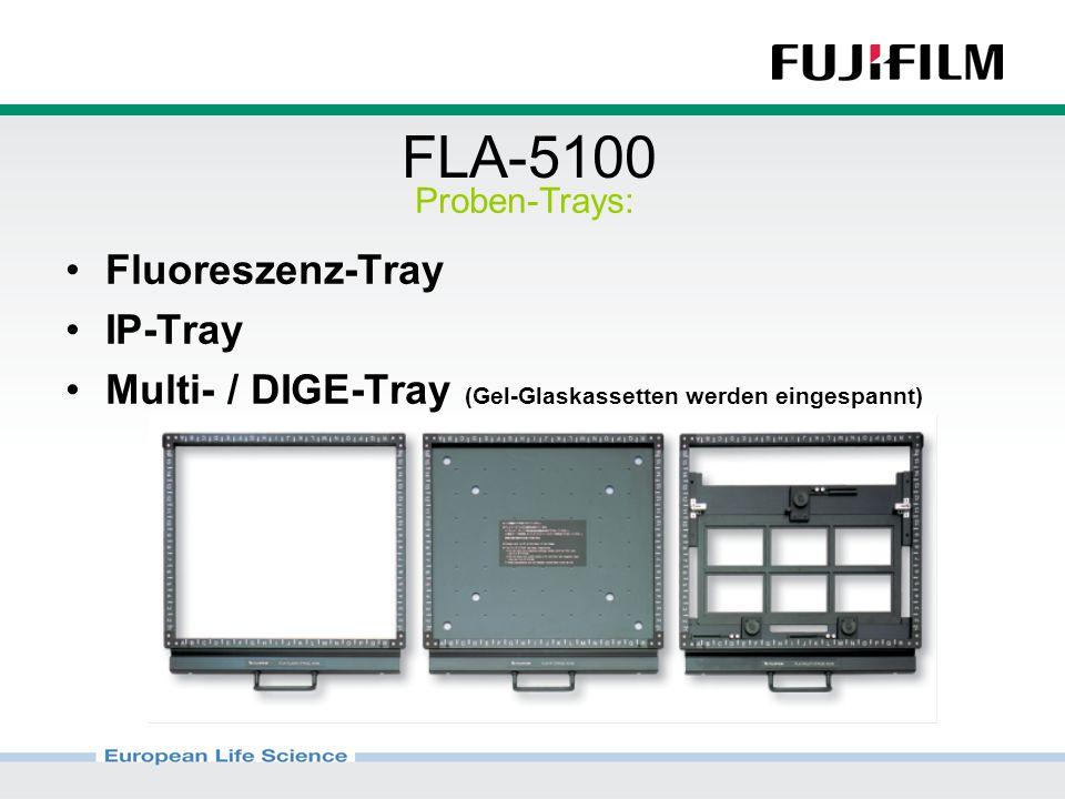 FLA-5100 Fluoreszenz-Tray IP-Tray Multi- / DIGE-Tray (Gel-Glaskassetten werden eingespannt) Proben-Trays: