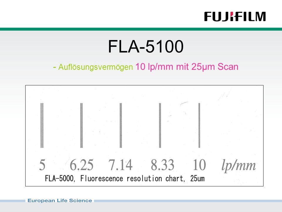 FLA-5100 - Auflösungsvermögen 10 lp/mm mit 25µm Scan