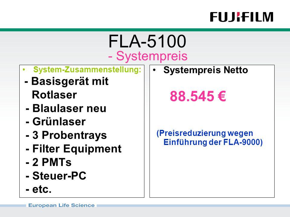 FLA-5100 System-Zusammenstellung: - Basisgerät mit Rotlaser - Blaulaser neu - Grünlaser - 3 Probentrays - Filter Equipment - 2 PMTs - Steuer-PC - etc.