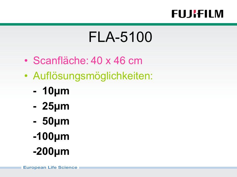 FLA-5100 Scanfläche: 40 x 46 cm Auflösungsmöglichkeiten: - 10µm - 25µm - 50µm -100µm -200µm