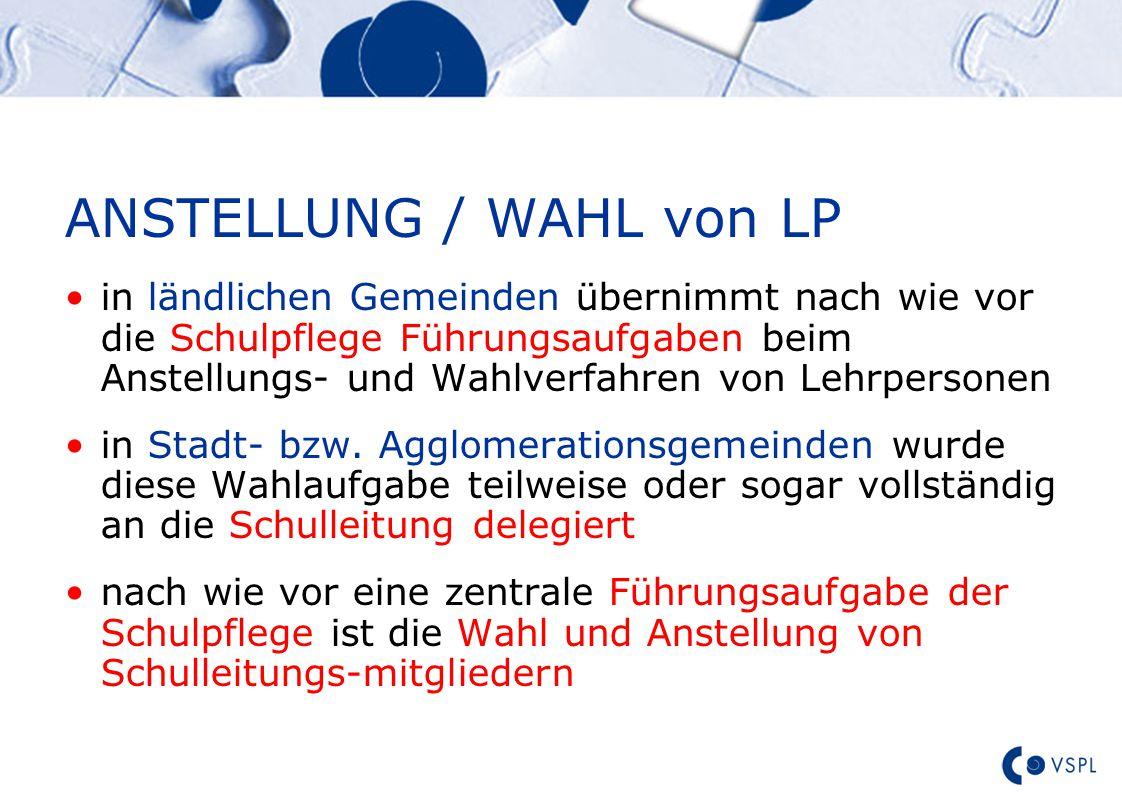 Text ANSTELLUNG / WAHL von LP in ländlichen Gemeinden übernimmt nach wie vor die Schulpflege Führungsaufgaben beim Anstellungs- und Wahlverfahren von Lehrpersonen in Stadt- bzw.