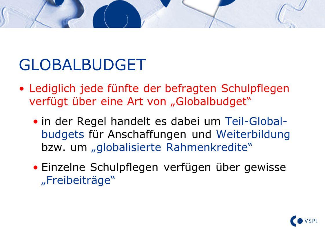 """Text GLOBALBUDGET Lediglich jede fünfte der befragten Schulpflegen verfügt über eine Art von """"Globalbudget in der Regel handelt es dabei um Teil-Global- budgets für Anschaffungen und Weiterbildung bzw."""