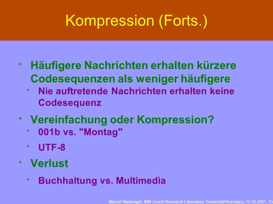 Marcel Waldvogel, IBM Zurich Research Laboratory, Universität Konstanz, 15.10.2001, 15 Kompression (Forts.)  Häufigere Nachrichten erhalten kürzere Codesequenzen als weniger häufigere  Nie auftretende Nachrichten erhalten keine Codesequenz  Vereinfachung oder Kompression.