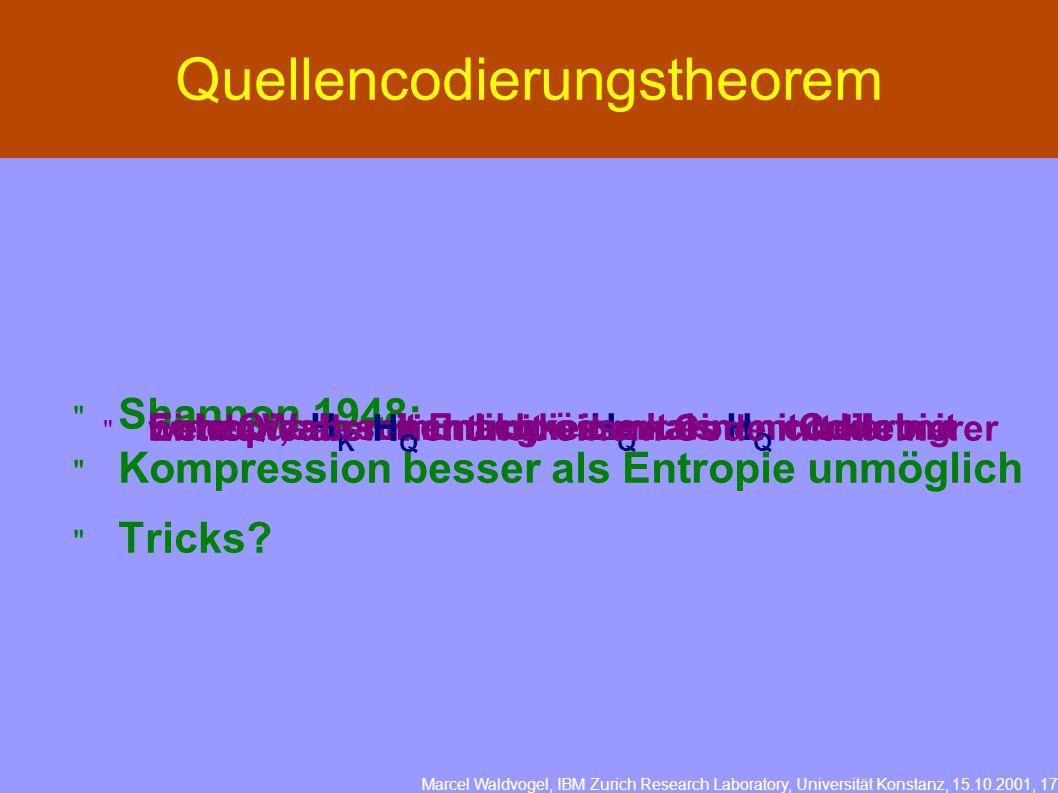 Marcel Waldvogel, IBM Zurich Research Laboratory, Universität Konstanz, 15.10.2001, 17 Quellencodierungstheorem  Shannon 1948:  Eine Quelle mit Entropie H Q kann mit beliebig hoher Wahrscheinlichkeit mit einem Code mit Entropie H K minimal grösser als H Q codiert werden, aber nicht mit einem Code mit kleinerer Entropie als H Q  Kompression besser als Entropie unmöglich  Tricks?