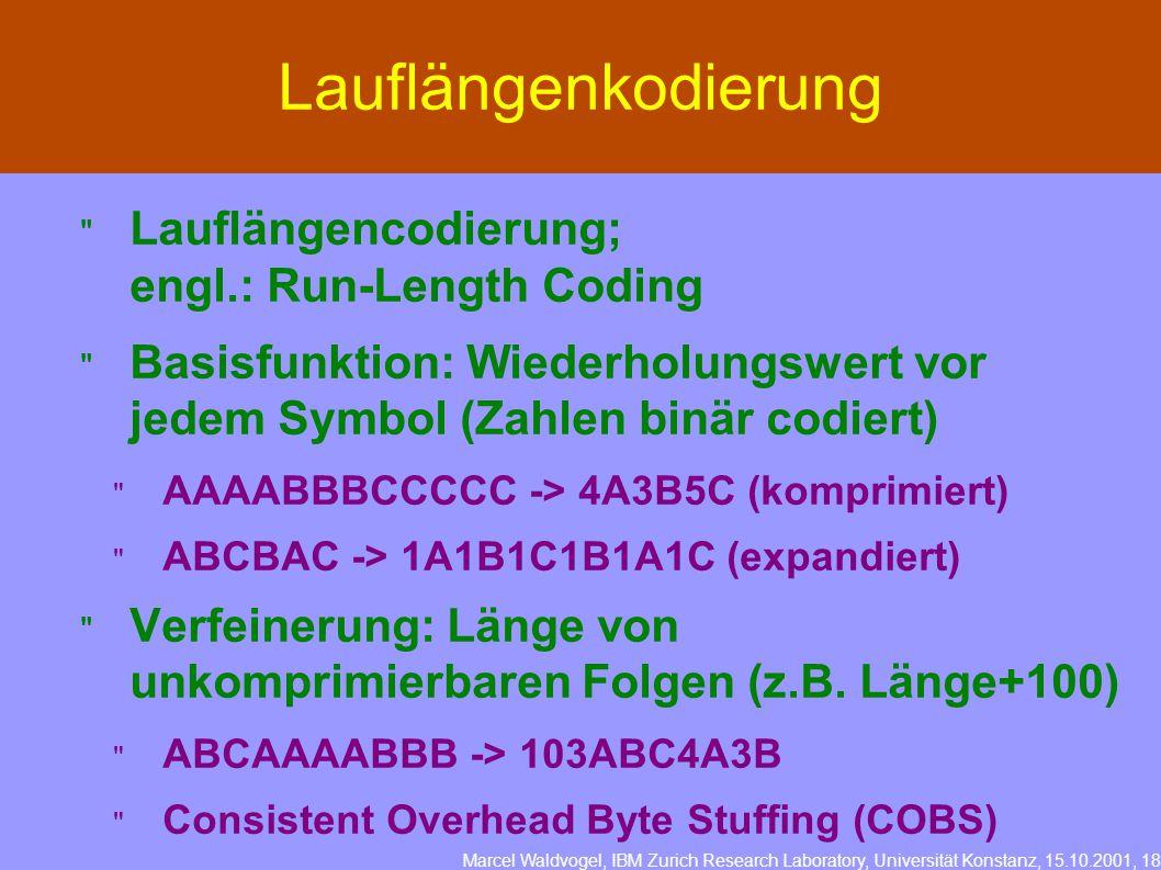 Marcel Waldvogel, IBM Zurich Research Laboratory, Universität Konstanz, 15.10.2001, 18 Lauflängenkodierung  Lauflängencodierung; engl.: Run-Length Coding  Basisfunktion: Wiederholungswert vor jedem Symbol (Zahlen binär codiert)  AAAABBBCCCCC -> 4A3B5C (komprimiert)  ABCBAC -> 1A1B1C1B1A1C (expandiert)  Verfeinerung: Länge von unkomprimierbaren Folgen (z.B.