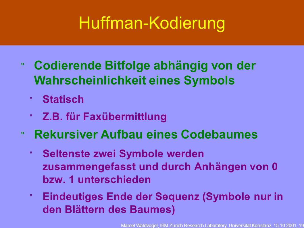 Marcel Waldvogel, IBM Zurich Research Laboratory, Universität Konstanz, 15.10.2001, 19 Huffman-Kodierung  Codierende Bitfolge abhängig von der Wahrscheinlichkeit eines Symbols  Statisch  Z.B.