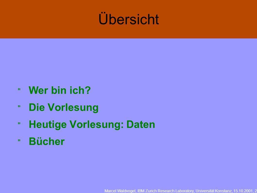Marcel Waldvogel, IBM Zurich Research Laboratory, Universität Konstanz, 15.10.2001, 2  Wer bin ich.