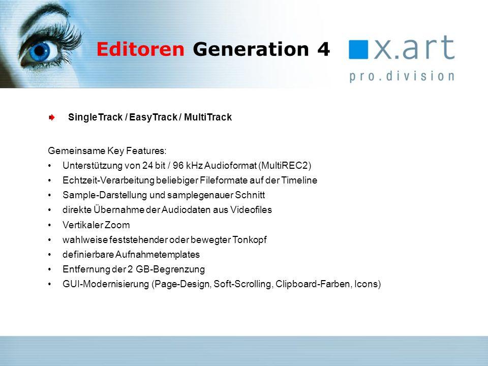 Weitere Features: Schnittstelle für ActiveX Echtzeit-Effekte (WAVES etc.) Echtzeit-Effekte auf Clip-Basis anwendbar Parameterkurven und Echtzeitbearbeitung für Lautstärke, Balance und alle Effektparameter Trackmixer mit Master Channel und Effekt-Racks Übersichtsfenster für alle Tracks MultiTrack Editor V4 Weitere Features: Integrierte Echtzeit-Effekte pro Spur (EQ, Subsonic, Compressor) Echtzeit-Time-Stretching auf der Timeline EasyTrack Editor V4 Editoren Generation 4