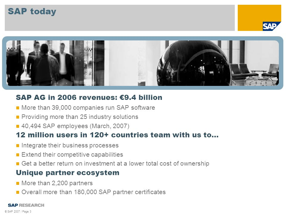 © SAP 2007 / Page 3 SAP today SAP AG in 2006 revenues: €9.4 billion More than 39,000 companies run SAP software Providing more than 25 industry solutions 40,494 SAP employees (March, 2007) 12 million users in 120+ countries team with us to… Integrate their business processes Extend their competitive capabilities Get a better return on investment at a lower total cost of ownership Unique partner ecosystem More than 2,200 partners Overall more than 180,000 SAP partner certificates