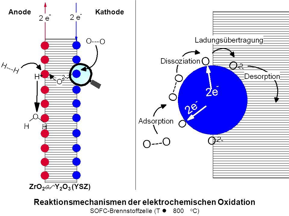 Reaktionsmechanismen der elektrochemischen Oxidation SOFC-Brennstoffzelle (T l 800 o C) AnodeKathode ZrO 2 $Y 2 O 3 (YSZ)