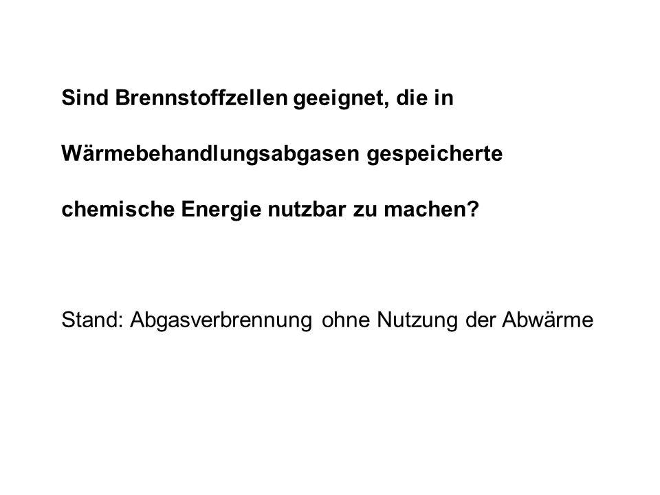 Sind Brennstoffzellen geeignet, die in Wärmebehandlungsabgasen gespeicherte chemische Energie nutzbar zu machen? Stand: Abgasverbrennung ohne Nutzung