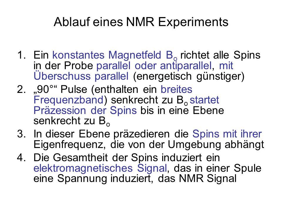 Ablauf eines NMR Experiments 1.Ein konstantes Magnetfeld B o richtet alle Spins in der Probe parallel oder antiparallel, mit Überschuss parallel (ener