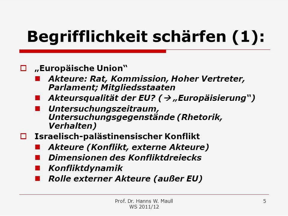 """Prof. Dr. Hanns W. Maull WS 2011/12 5 Begrifflichkeit schärfen (1):  """"Europäische Union"""" Akteure: Rat, Kommission, Hoher Vertreter, Parlament; Mitgli"""