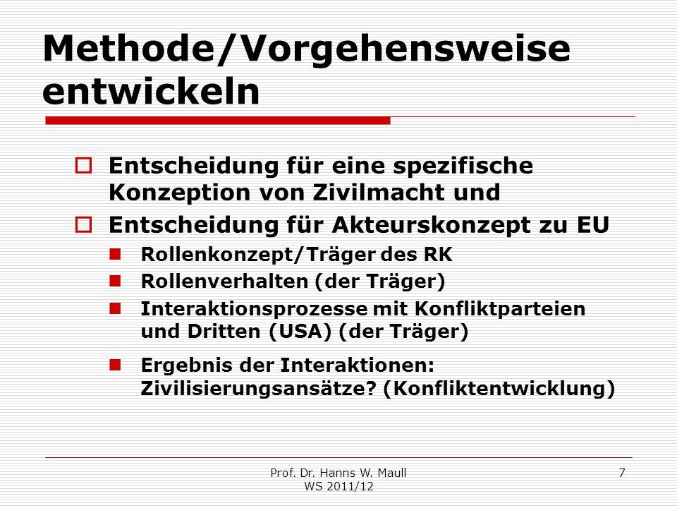 Prof. Dr. Hanns W. Maull WS 2011/12 7 Methode/Vorgehensweise entwickeln  Entscheidung für eine spezifische Konzeption von Zivilmacht und  Entscheidu