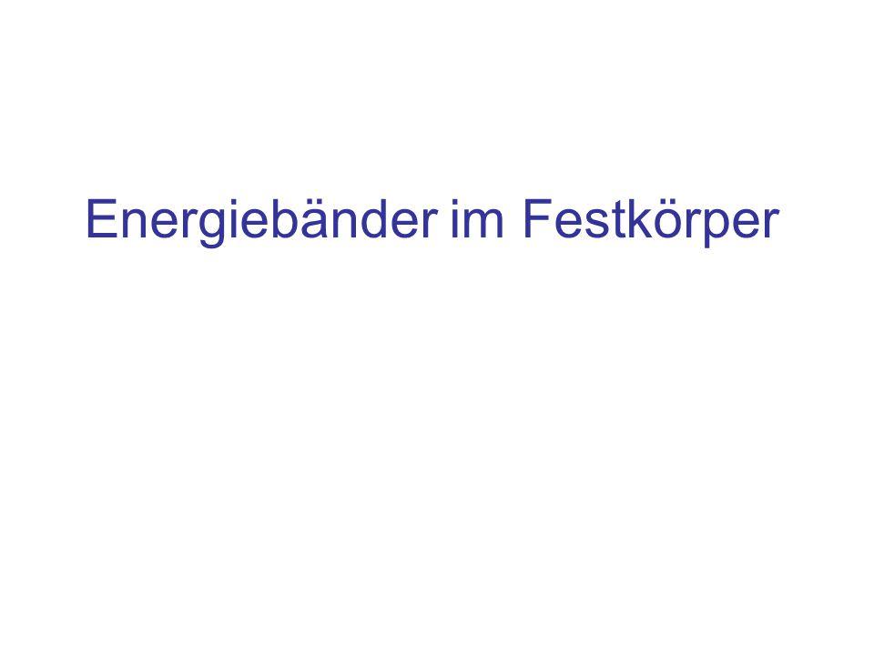"""Inhalt Klassisch: Energieniveaus eines freien Atoms Energie des Bohrschen Atommodells –Aufspaltung der Energieniveaus durch Kopplung bei Annäherung eines zweiten Atoms Quantenmechanik: Alle Elektronen eines Festkörpers bilden eine quantenmechanische Gesamtheit, jedem Elektron wird eine Welle zugeordnet –Lösung der Schrödingergleichung für Elektronen im """"Kasten Daraus resultiert das Bändermodell für –Isolator –Halbleiter –Leiter"""