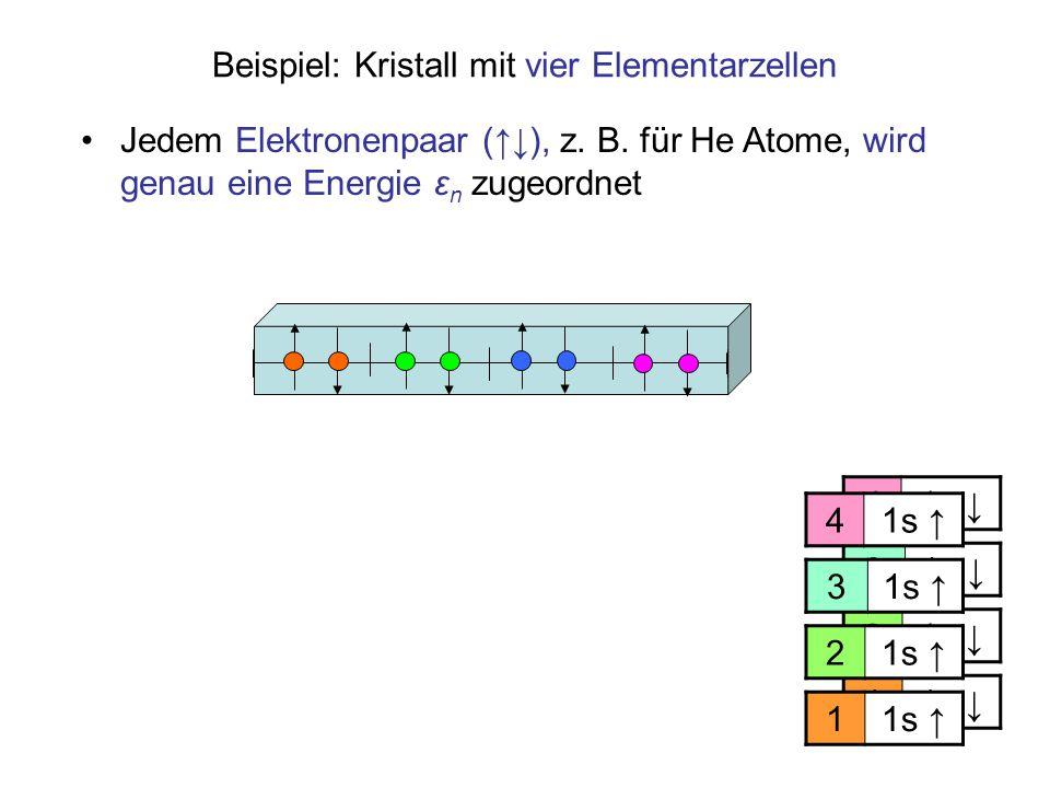 11s ↓ 2 3 4 Beispiel: Kristall mit vier Elementarzellen Jedem Elektronenpaar (↑↓), z. B. für He Atome, wird genau eine Energie ε n zugeordnet 11s ↑ 2