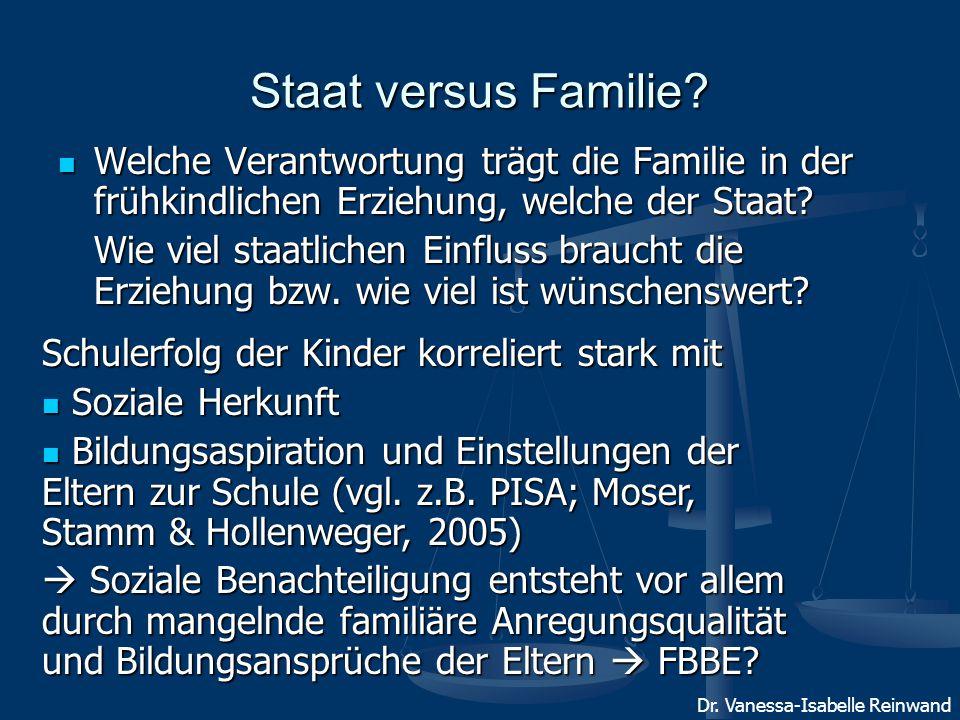 Staat versus Familie? Welche Verantwortung trägt die Familie in der frühkindlichen Erziehung, welche der Staat? Welche Verantwortung trägt die Familie