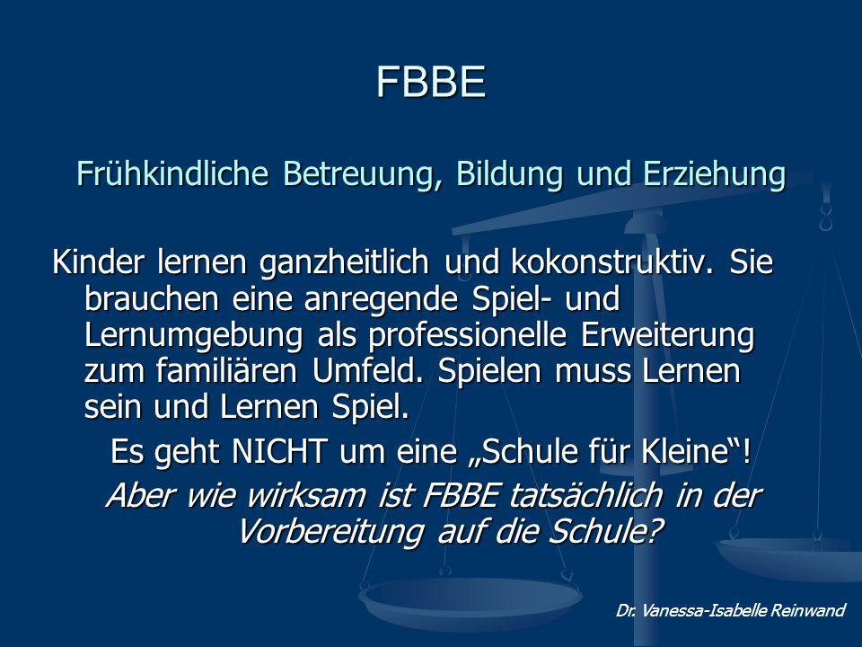 FBBE Frühkindliche Betreuung, Bildung und Erziehung Kinder lernen ganzheitlich und kokonstruktiv. Sie brauchen eine anregende Spiel- und Lernumgebung