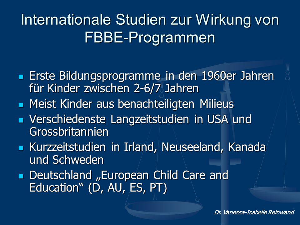 Internationale Studien zur Wirkung von FBBE-Programmen Erste Bildungsprogramme in den 1960er Jahren für Kinder zwischen 2-6/7 Jahren Erste Bildungspro
