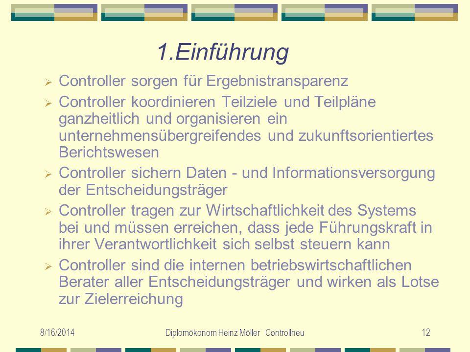 8/16/2014Diplomökonom Heinz Möller Controllneu12 1.Einführung  Controller sorgen für Ergebnistransparenz  Controller koordinieren Teilziele und Teil