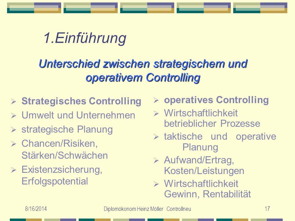 8/16/2014Diplomökonom Heinz Möller Controllneu17 Unterschied zwischen strategischem und operativem Controlling  Strategisches Controlling  Umwelt un