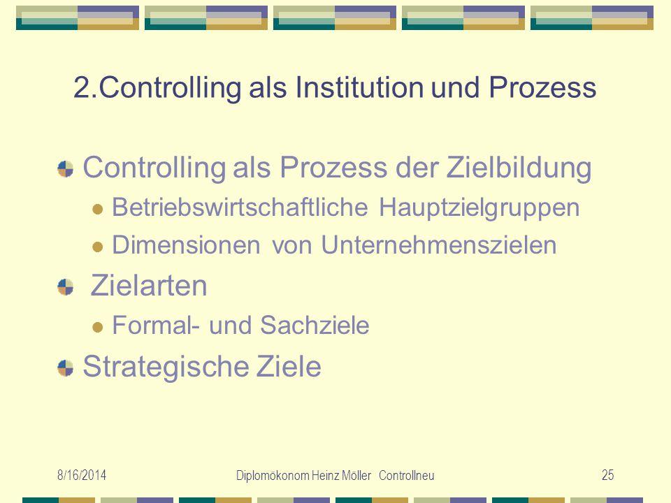 8/16/2014Diplomökonom Heinz Möller Controllneu25 2.Controlling als Institution und Prozess Controlling als Prozess der Zielbildung Betriebswirtschaftl