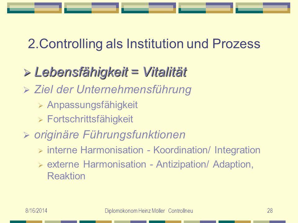 8/16/2014Diplomökonom Heinz Möller Controllneu28 2.Controlling als Institution und Prozess  Lebensfähigkeit = Vitalität  Ziel der Unternehmensführun