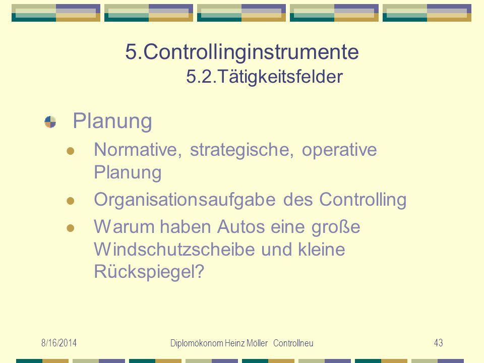 8/16/2014Diplomökonom Heinz Möller Controllneu43 5.Controllinginstrumente 5.2.Tätigkeitsfelder Planung Normative, strategische, operative Planung Orga