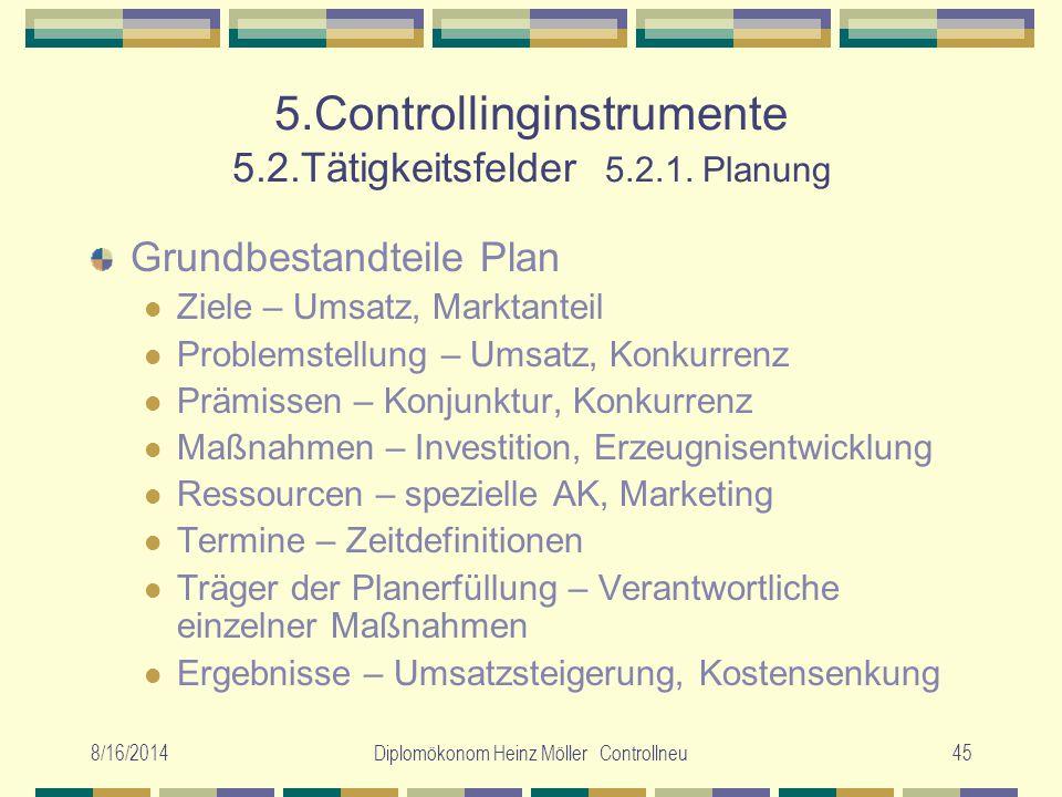 8/16/2014Diplomökonom Heinz Möller Controllneu45 5.Controllinginstrumente 5.2.Tätigkeitsfelder 5.2.1. Planung Grundbestandteile Plan Ziele – Umsatz, M