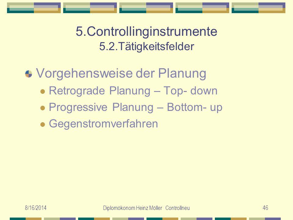8/16/2014Diplomökonom Heinz Möller Controllneu46 5.Controllinginstrumente 5.2.Tätigkeitsfelder Vorgehensweise der Planung Retrograde Planung – Top- do