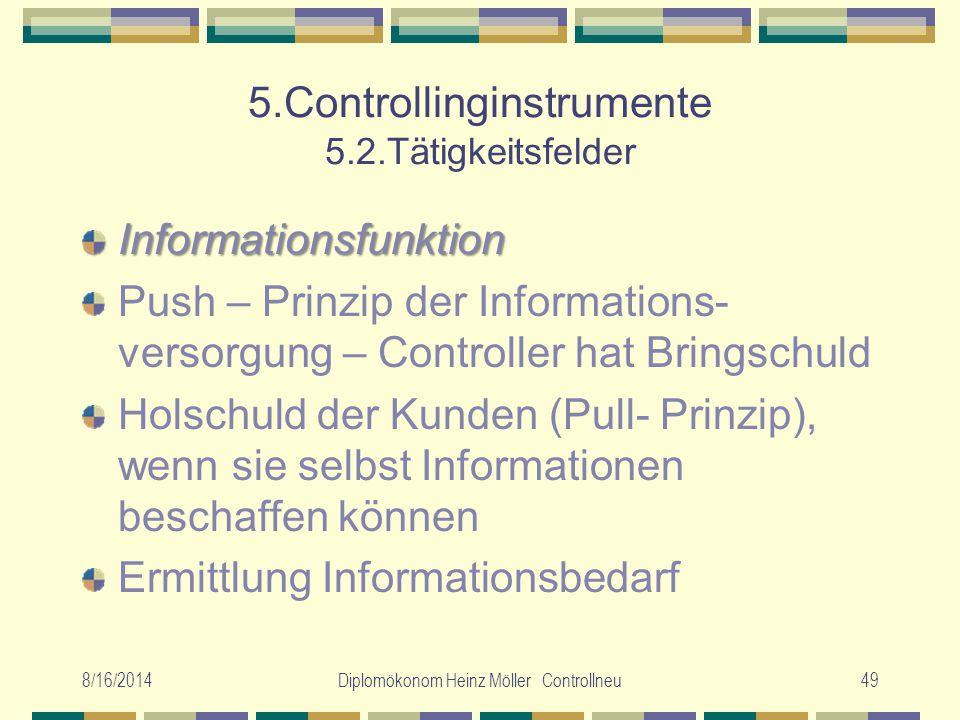 8/16/2014Diplomökonom Heinz Möller Controllneu49 5.Controllinginstrumente 5.2.Tätigkeitsfelder Informationsfunktion Push – Prinzip der Informations- v