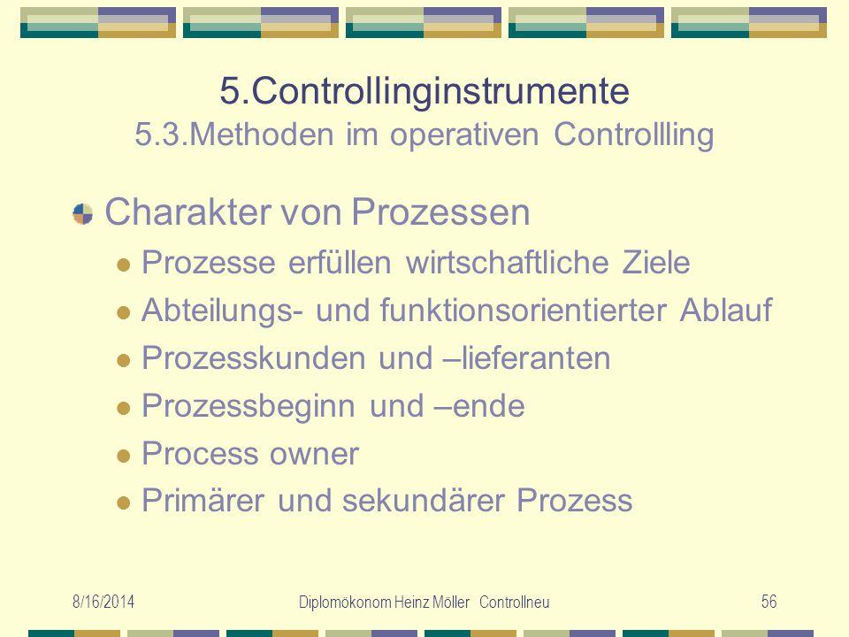 8/16/2014Diplomökonom Heinz Möller Controllneu56 5.Controllinginstrumente 5.3.Methoden im operativen Controllling Charakter von Prozessen Prozesse erf