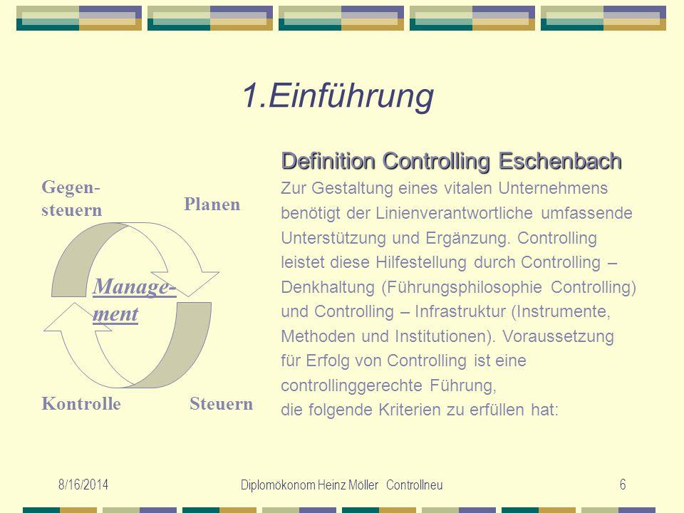 8/16/2014Diplomökonom Heinz Möller Controllneu6 1.Einführung Planen SteuernKontrolle Gegen- steuern Manage- ment Definition Controlling Eschenbach Zur