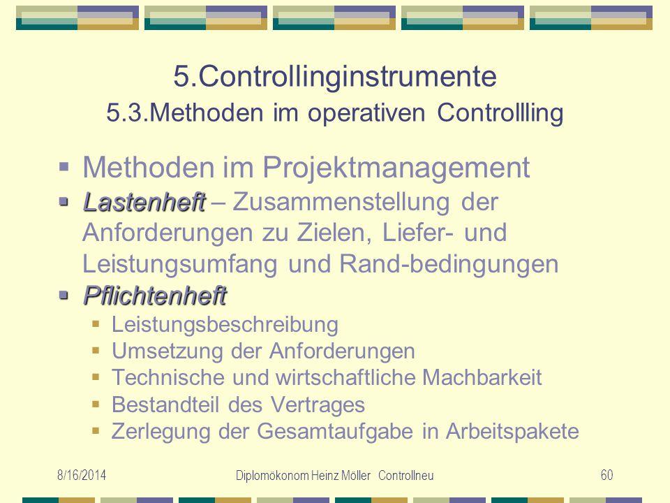 8/16/2014Diplomökonom Heinz Möller Controllneu60 5.Controllinginstrumente 5.3.Methoden im operativen Controllling  Methoden im Projektmanagement  La