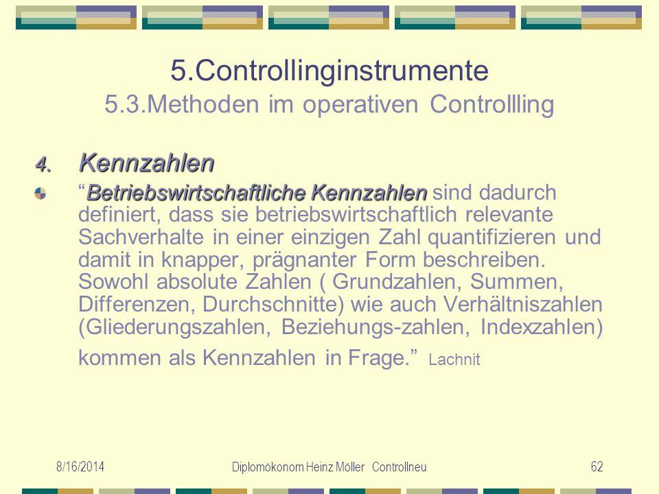 8/16/2014Diplomökonom Heinz Möller Controllneu62 5.Controllinginstrumente 5.3.Methoden im operativen Controllling 4. Kennzahlen Betriebswirtschaftlich