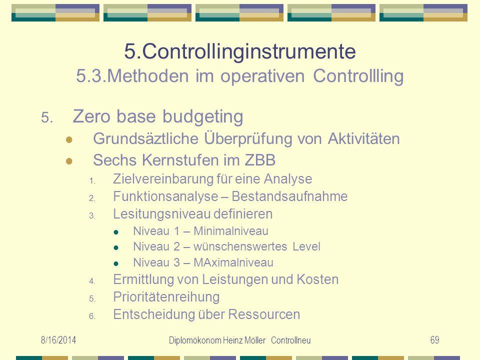 8/16/2014Diplomökonom Heinz Möller Controllneu69 5.Controllinginstrumente 5.3.Methoden im operativen Controllling 5. Zero base budgeting Grundsäztlich