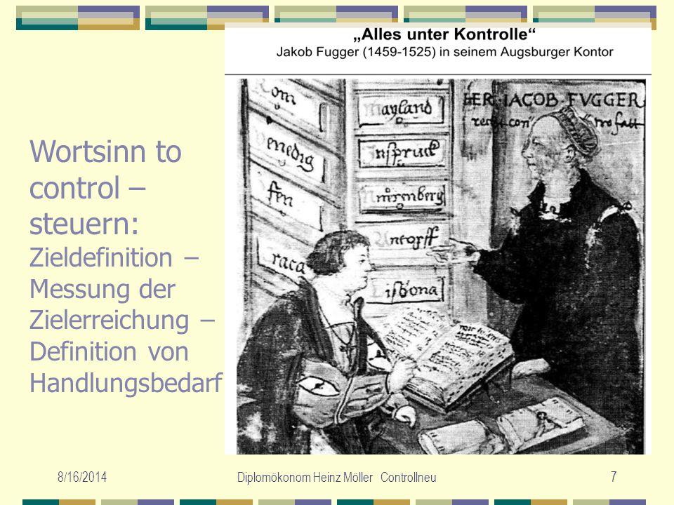 8/16/2014Diplomökonom Heinz Möller Controllneu7 Wortsinn to control – steuern: Zieldefinition – Messung der Zielerreichung – Definition von Handlungsb