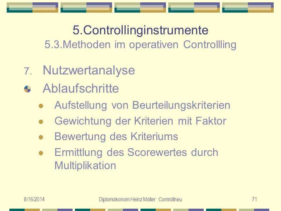 8/16/2014Diplomökonom Heinz Möller Controllneu71 5.Controllinginstrumente 5.3.Methoden im operativen Controllling 7. Nutzwertanalyse Ablaufschritte Au
