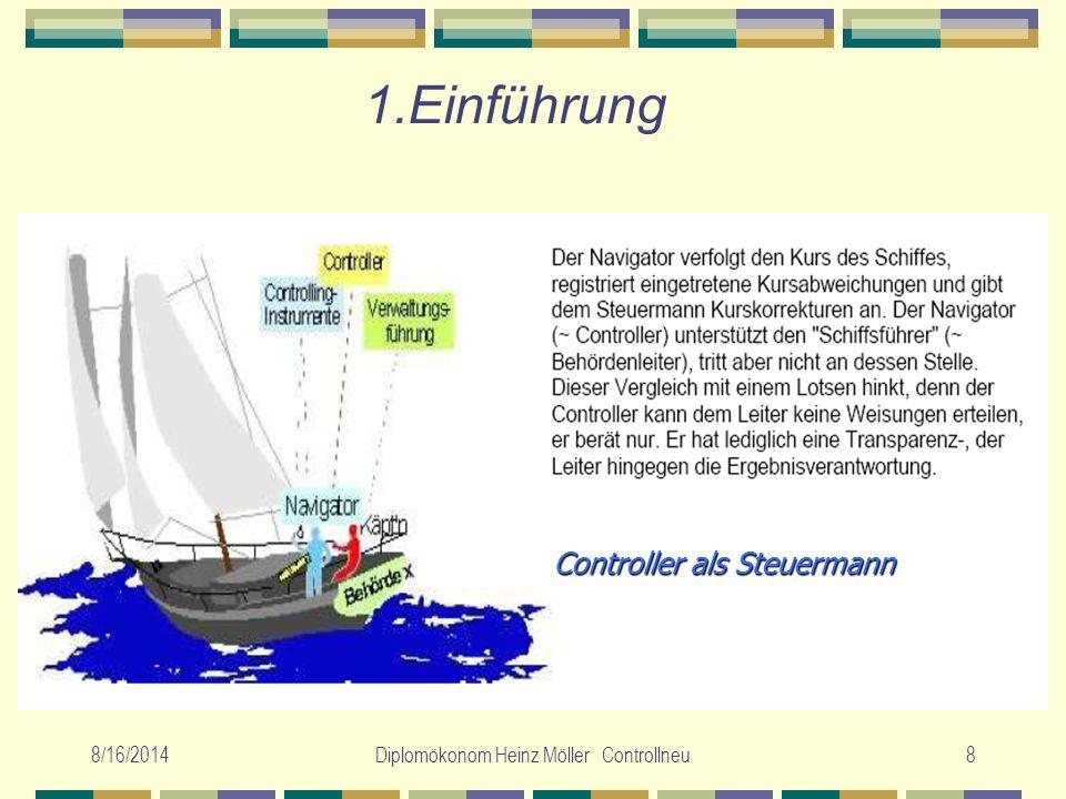 8/16/2014Diplomökonom Heinz Möller Controllneu8 1.Einführung Controller als Steuermann