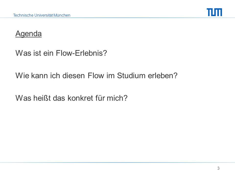 Technische Universität München Agenda Was ist ein Flow-Erlebnis? Wie kann ich diesen Flow im Studium erleben? Was heißt das konkret für mich? 3