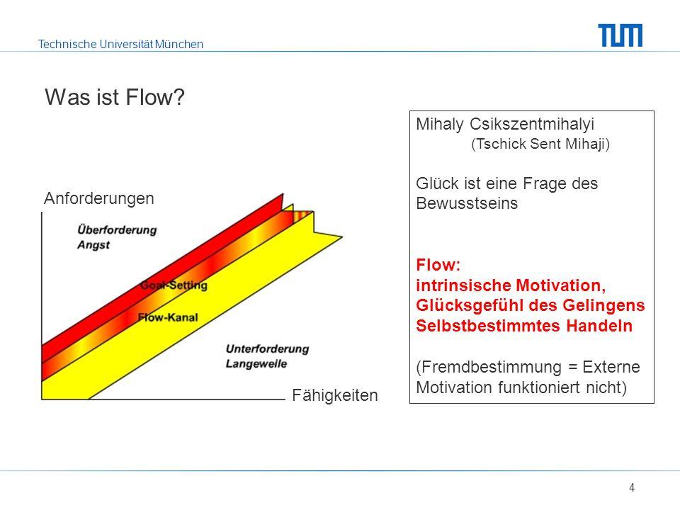Technische Universität München Was ist Flow? 4 Mihaly Csikszentmihalyi (Tschick Sent Mihaji) Glück ist eine Frage des Bewusstseins Flow: intrinsische