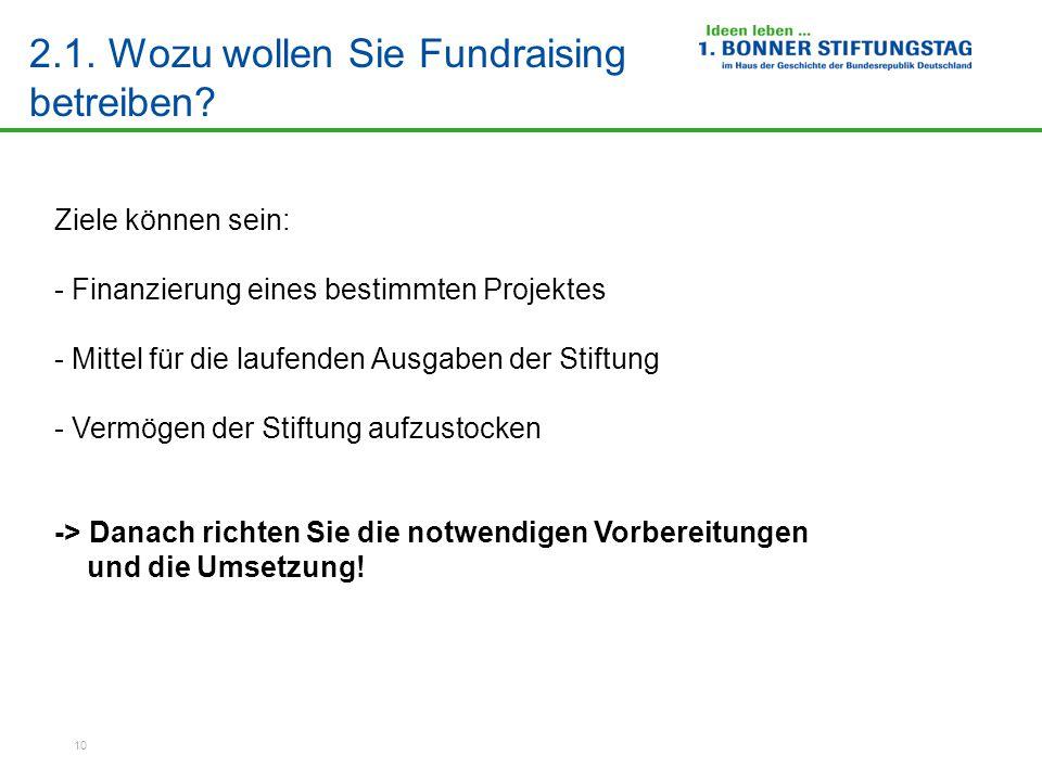 10 2.1.Wozu wollen Sie Fundraising betreiben.