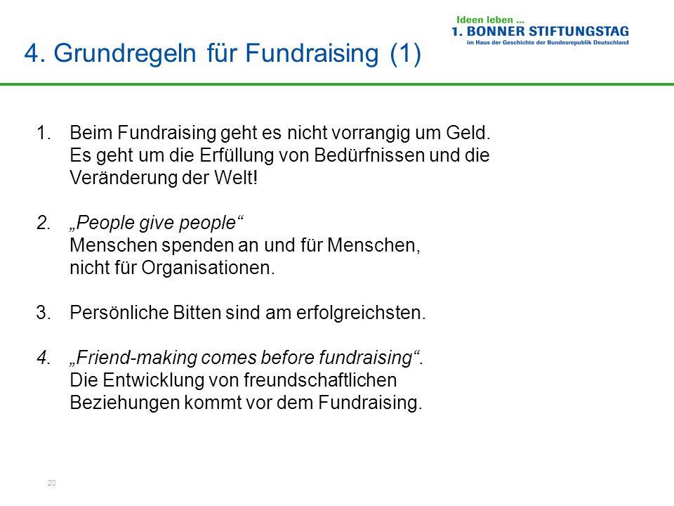 20 4.Grundregeln für Fundraising (1) 1.Beim Fundraising geht es nicht vorrangig um Geld.