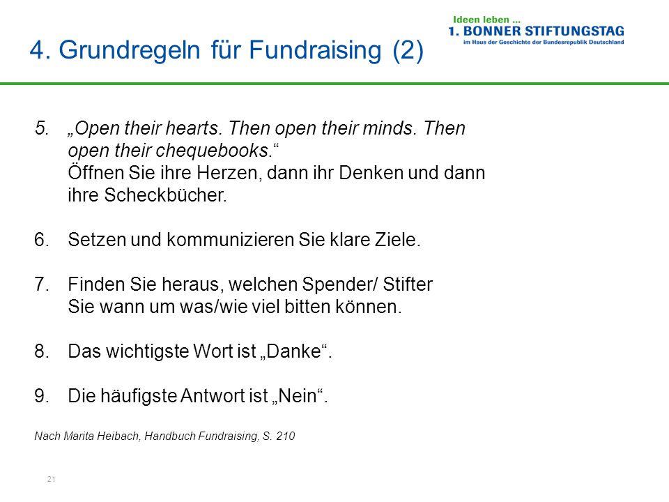 """21 4.Grundregeln für Fundraising (2) 5.""""Open their hearts."""