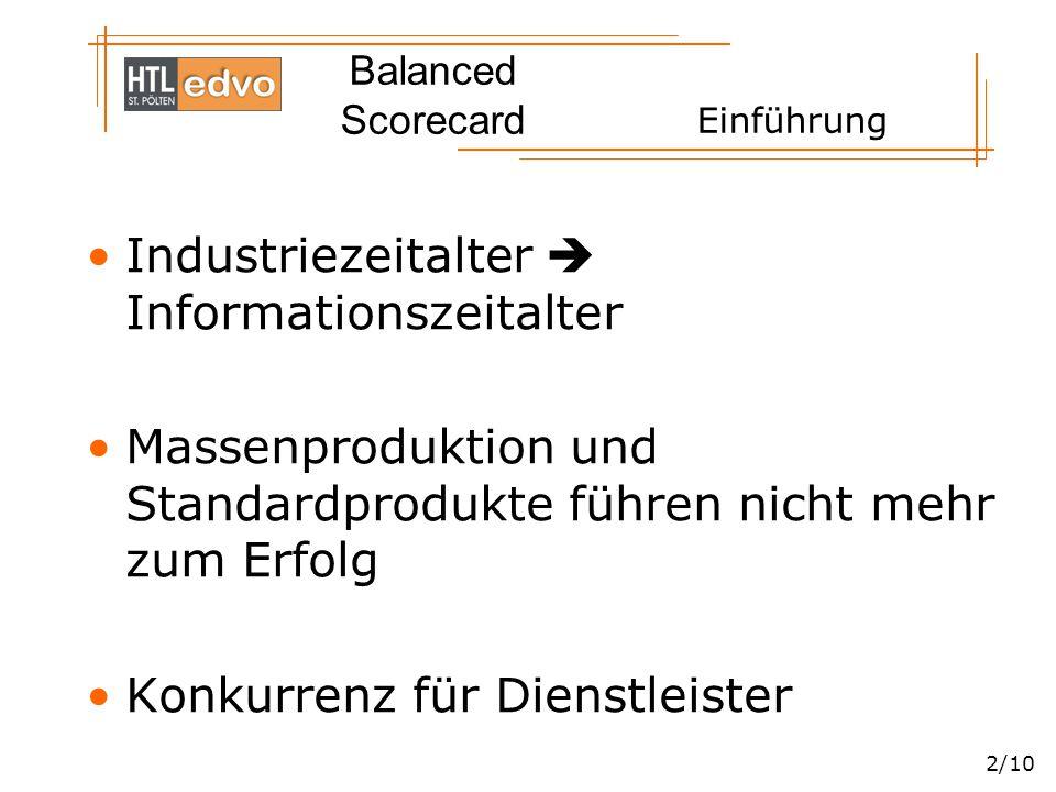 Balanced Scorecard 3/10 Einführung Schwieriger moderne Organisation zu steuern  umfangreicheres Instrumentarium nötig Balanced Scorecard übersetzt Unternehmensmission und –strategie in übersichtliches System