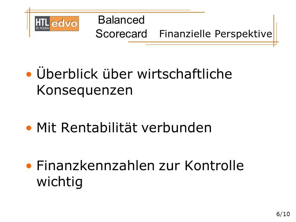 Balanced Scorecard 6/10 Finanzielle Perspektive Überblick über wirtschaftliche Konsequenzen Mit Rentabilität verbunden Finanzkennzahlen zur Kontrolle